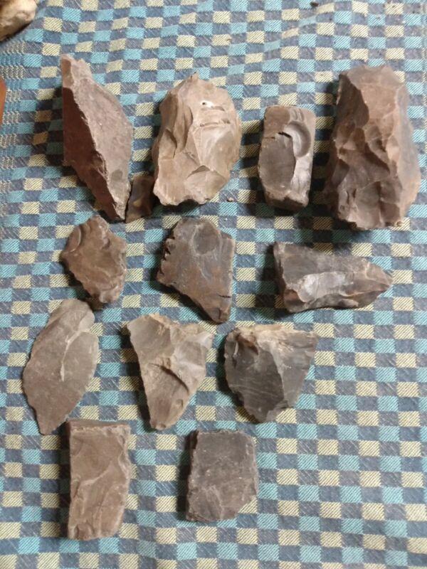 2.5 LBS (12 PCs) TN Creek Rocks Flint Good For Knapping Capping