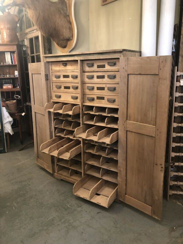 Circa 1880 Sandblasted Eastlake Technical Industrial Cabinet 8 Drawer 16 Trays