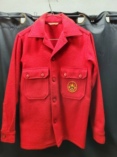Vintage Boy Scout of America BSA Red Wool Coat Official Jacket, 1970s Patches 16