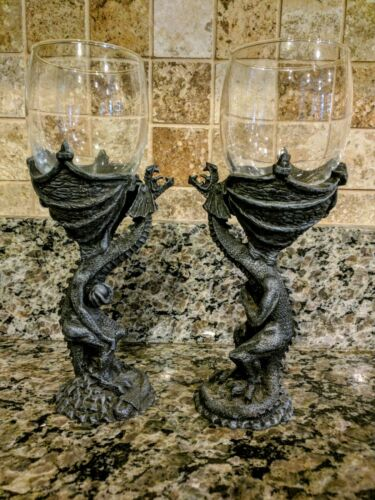 """PAIR OF MEDIEVAL DRAGON GOBLETS 8"""" TALL   UNSOLD STORE STOCK  DISPLAY ONLY"""