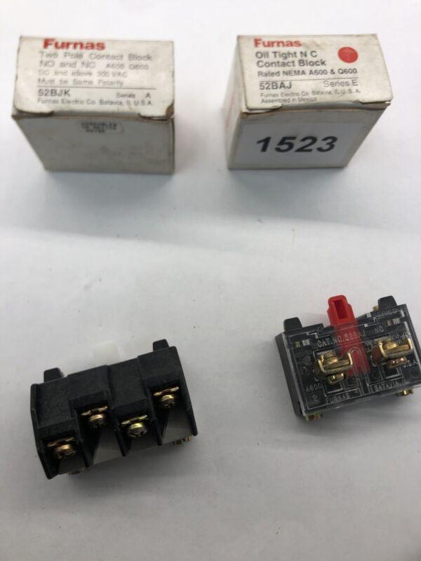 Lot of 2 Furnas Oil Tight NC & NO Contact Block 52BJK Series A NEMA A600 52BAJ