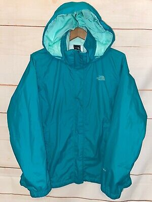 Womens THE NORTH FACE HyVent Jacket Zip Up Hooded Lightweight Coat Green Large L