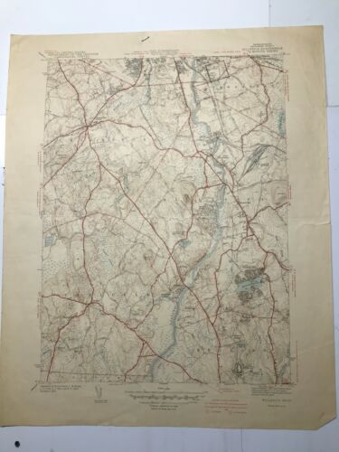 Antique Original 1939 USGS Topographical Map Billerica (Massachusetts) Sheet