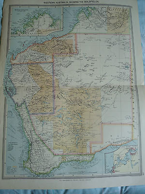 1900/1908 antique map Western Australian + Goldfields Harmsworth 15 in x 22 in