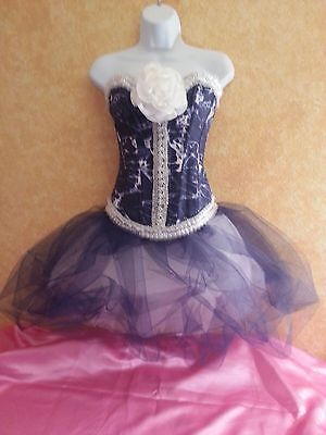 DENIM & DIAMOND TIE DYE BONED CORSET NAVY TULLE TUTU SKIRT BRIDAL WEDDING DRESS  - Tie Dye Wedding