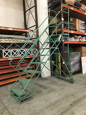 Used 8-step Rolling Portable Ladder Wplatform Warehouse 150 Lb