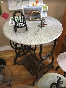 Vintage Antique Sewing Machine Base with Granite Top Table