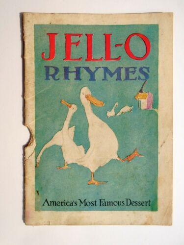 Vintage JELL-O Gelatin Dessert RHYMES.1923 Recipe Booklet Cookbook Marsh