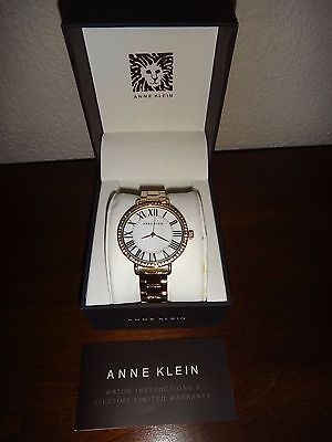ANNE KLEIN Women's Gold Tone Watch ROMAN Numerals Swarovski Crystals AK/2190MPG