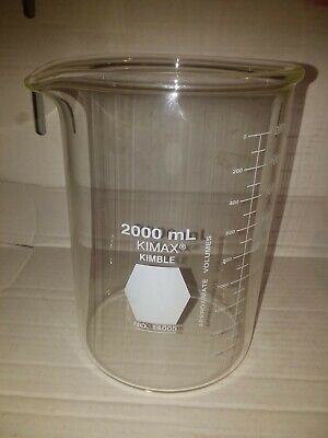 New Kimble Kimax 2000 Ml Beaker Glass Clear 14000
