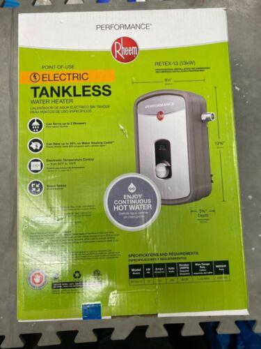New Rheem RTEX-13 13KW Self-Modulating 1.97 GPM Electric Tankless Water Heater