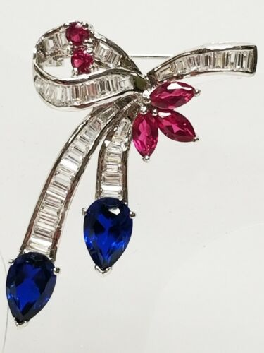 Charles Winston CZ Baguette Blue Spinel & Pink Sapphire Sterling Silver Brooch