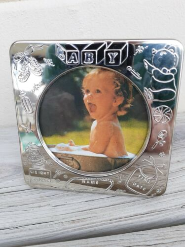 """Vintage Silver Plated Baby Birth Record Picture Photo Frame 4"""" Engrave Name"""