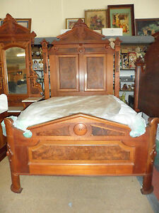 Antique Bedroom Set Full Size Bed Mirrored Marble Top