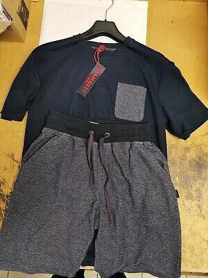 Katharine Hamnett Men's Lounge Wear Grey/Navy Twist Top/Shorts Large £60 RRP