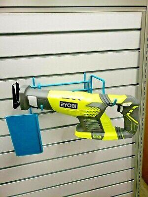 Blue Wire Slatwall Peg Board Retail Display W Sign Holder Sawzall Large Tools