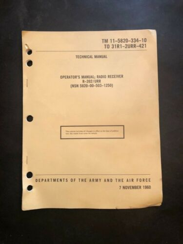 TM 11-5820-334-10 Radio Receiver R-392/URR,  Operators Guide 1960 Reprint