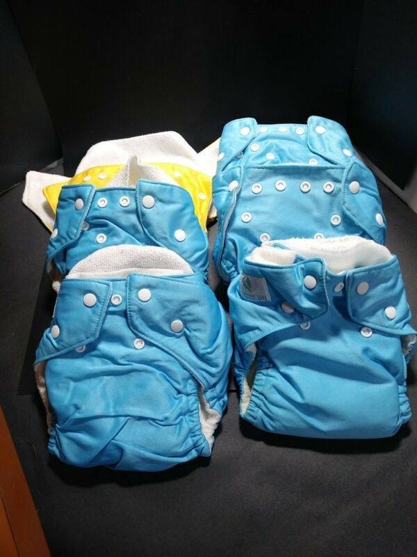 Lot of 6 NATURES LOVE Reusable Baby Cloth Diapers with Covers &  inserts blue