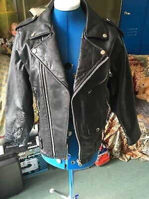 "Vintage black fringed leather Biker Motorbike jacket size Sm 38-40"" long life"