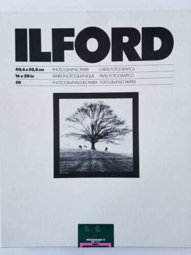 """16 """"x 20"""" Ilford MGIV FB MGF.1K Photographic Paper Partial 50 count box. Read!"""