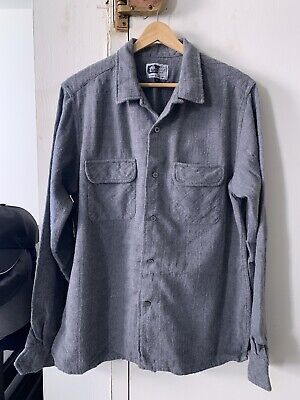 NEW Engineered Garments Thick Cotton Flannel Shirt Textured Large L Grey