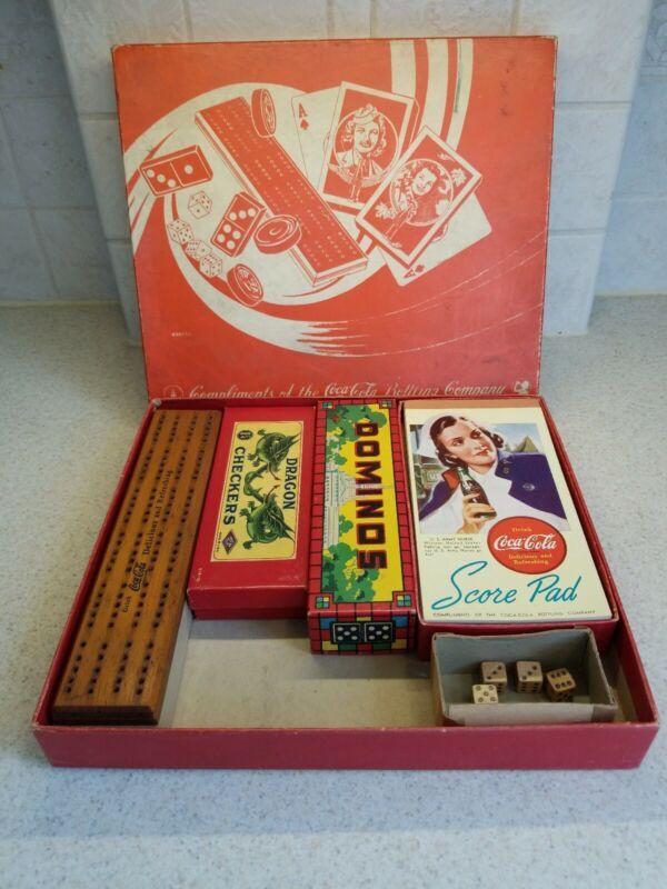 Vtg WW2 era 1940s COCA COLA Game Set Checkers Backgammon Dominos Milton Bradley