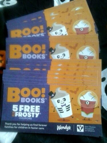 Wendys FROSTY JR HALLOWEEN Boo Books Coupons~NEW ~5 Boo Books A set= 25 Frostys