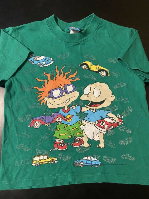 Vintage 90s 1997 Youth Kids Rugrats Nickelodeon Cars Cartoon T-Shirt Medium