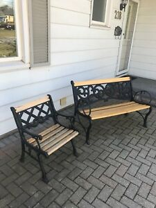 Wrought iron and hardwood garden benches