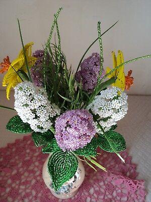 VINTAGE HANDMADE GLASS BEADED FLOWERS + GIFT Glass Beaded Flowers