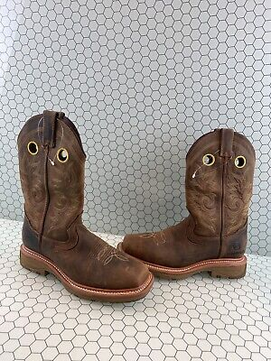 Double H Elijah Brown Leather Comp Toe Pull On Work Boots Men's Size 7.5 D