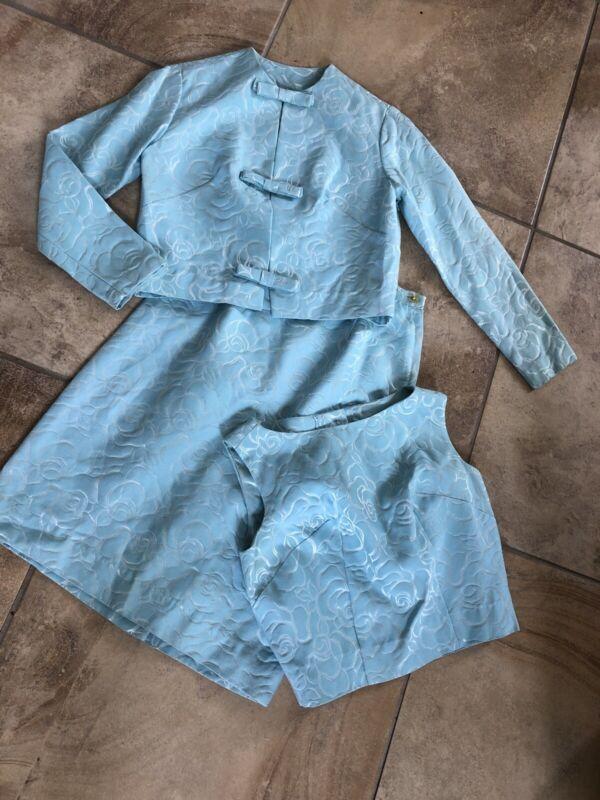 Caril Brent Women 7 Blue Floral Vintage 60's 3 Pc Blazer Cami Pencil Skirt Suit