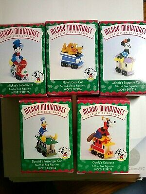 Complete Set of 5 Merry Miniatures Mickey Express Christmas Train + DISPLAY BOX