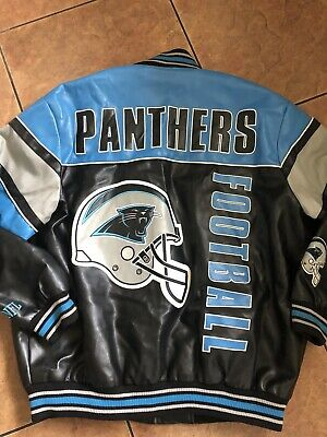 NFL Carolina PANTHERS Faux Leather Varsity Jacket, XXL Carolina Panthers Leather