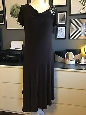 Brown Bias Cut Strech Dress Art Deco Embelishments 20s Style 12 14 Evening