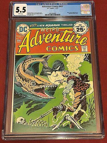ADVENTURE COMICS 437 CGC 5.5 CRACKED CASE Aquaman Aparo Grell 1975