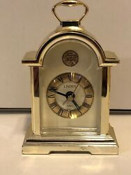 Vintage Linden Tempus Fugit Small Quartz Carriage Alarm Clock Mantle Mantle Desk