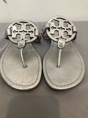 Tory Burch Women's Miller Flip Flop Sandals Metallic Silver Tumbled Sz 9M EUC