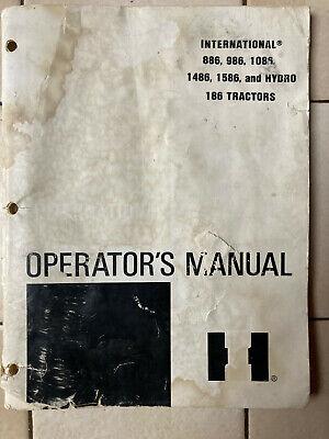 International Ih 886 986 1086 1486 1586 Hydro 186 Tractor Operators Manual