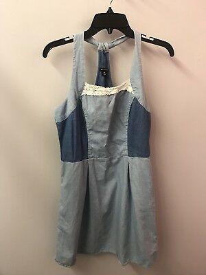I Heart Ronson 10 Denim Dress Lace Detail Halter Cotton Euc