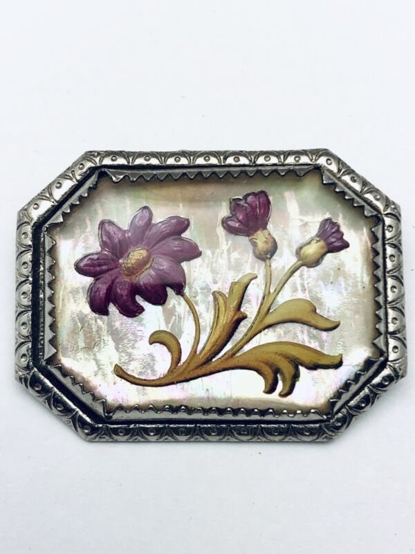 Antique Goofus Glass Brooch Pin Purple Flowers