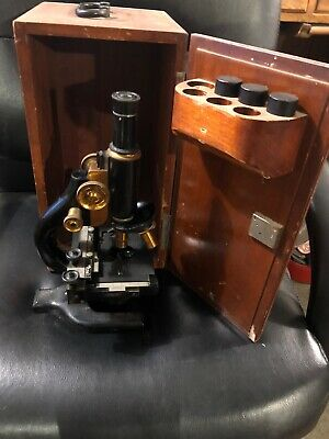 Vintage Antique Spencer Buffalo Co. Scientific Brass Microscope W Wooden Box