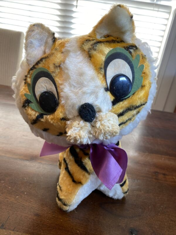 "Vintage 1950's 60's Tiger Plush 13"" Mohair! Plastic Eyes SUPER RARE! LOOK!"