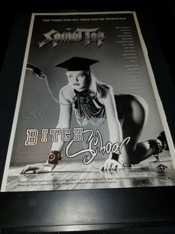 Spinal Tap Bitch School Rare Original Radio Promo Poster Ad Framed!