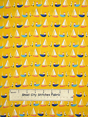 Tug Boat Sailboat Sea Gull Yellow Cotton Fabric Timeless Tre