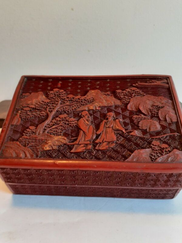 Antique 19thC Hand Carved Deep Red Chinese Export Cinnabar Lacquer Box
