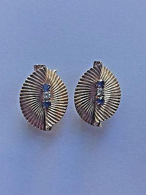Tiffany & Co. Vintage 14K Gold Diamond Sapphire Clip Earrings Swirl Fluted Fan