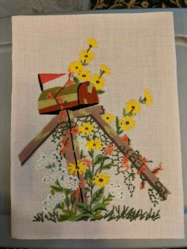 """Spring Flowers Mailbox Embroidery Crewel Finished 16"""" X 12"""" Unframed"""