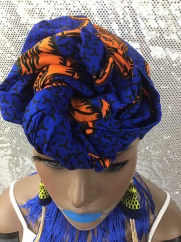 African Ankara Print Wax Headwrap Scarf And Fringe Tassel Choker Necklace Set 2p