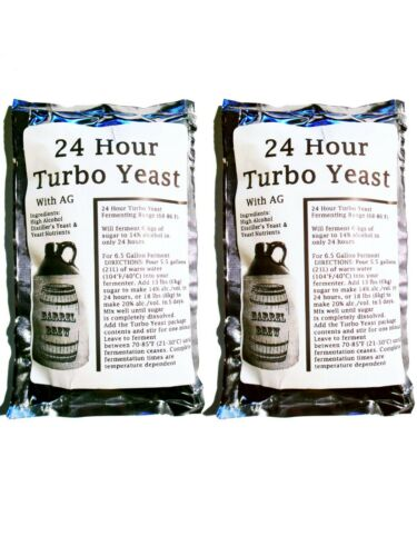 2 Packs 24 Hour Turbo Yeast w/ AG - Moonshine Alcohol Whiskey Rum Vodka 6.5 gal